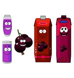 Happy cartoon currant fruit and juice drinks vector