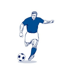 Soccer player kicking vector
