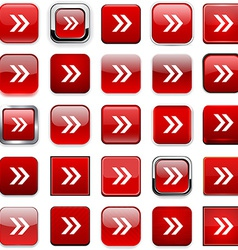 Square red arrow icons vector