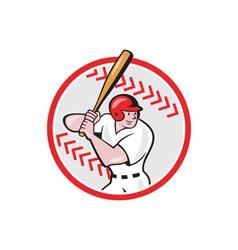 Baseball player batting ball cartoon vector
