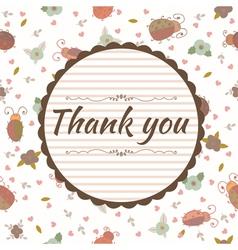 Thank you card floral frame vector