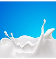 Splash of milk - design with blue background vector