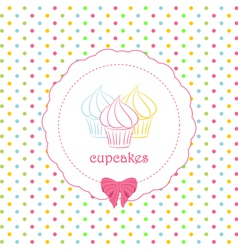 Cupcake polka dot background vector