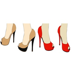 Shoes on the catwalk vector