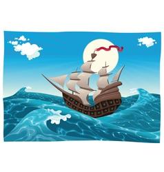 Galleon in the sea vector