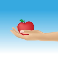 Womans hand giving apple vector
