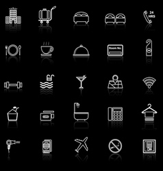 Hotel line icons with reflect on black vector