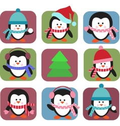 Set of holiday penguins vector