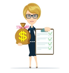 Business woman holding a paper with green flags vector