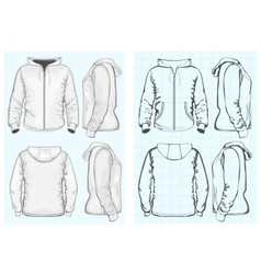 Mens hooded sweatshirt with zipper vector