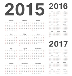 European 2015 2016 2017 year calendars vector