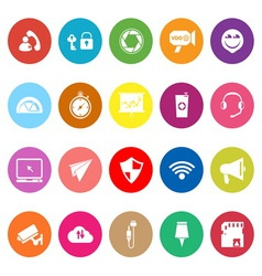 Smart phone screen flat icons on white background vector