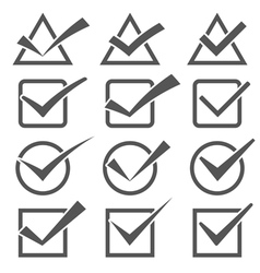 Twelve different grey check marks confirm icons vector