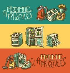 Beautiful hand drawn doodle banners home appliahce vector
