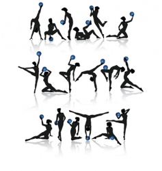 Gymnast girl collection vector