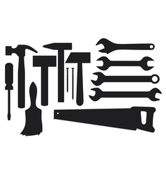 Black silhouettes of hand tools vector