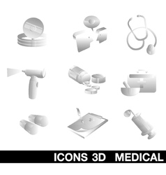 Icon set medical 3d vector