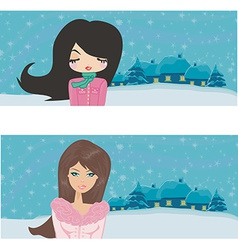 Winter girls set vector