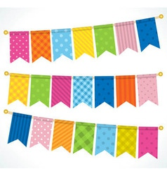 Color bunting flags vector