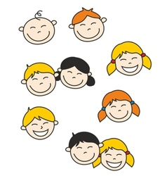 Happy kids and baby isolated on white background vector