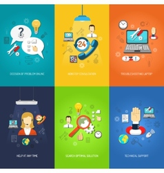 Computer support mini poster set multicolored vector