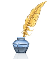 Feather and ink pot vector