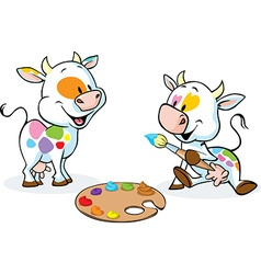 Two original cows painted spots on their body - vector