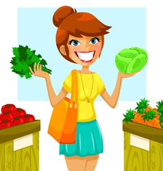 Buying vegetables vector