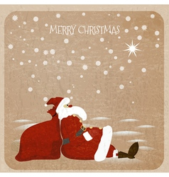 Holidaymaker santa claus with red bag for presents vector
