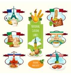 National cuisine labels vector