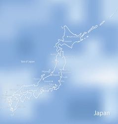 The map of japan on an indistinct blue background vector