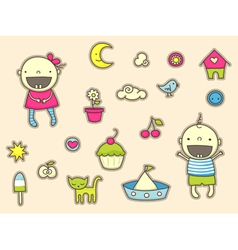 Cute stickers for children vector