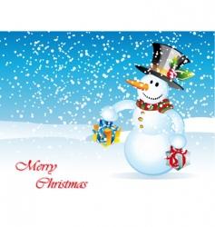 Snowman christmas card vector