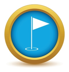 Gold golf flag icon vector