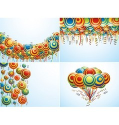 Four composition with creative balloons vector