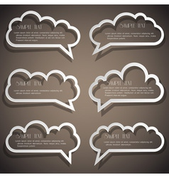Set of speech bubbles from paper outline vector
