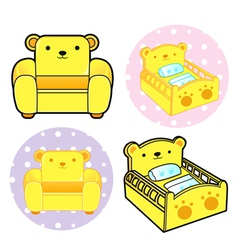 Various styles of baby crib and sofa sets vector