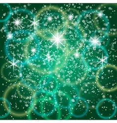 Abstract green background with bokeh and particles vector