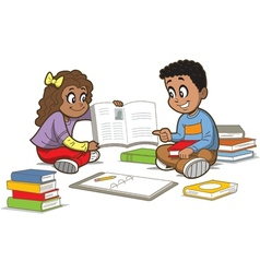Children with books vector