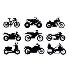 Motorcycles and bicycles vector