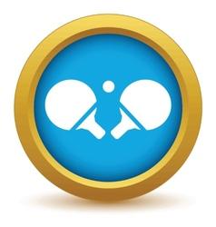 Gold table tennis icon vector