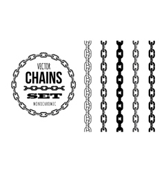 Different type of chains black and white vector