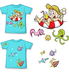 Shirt with cute child in swimming circles and fish vector