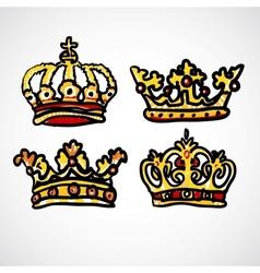 Set of doodle crowns vector