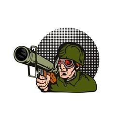 Soldier aiming bazooka vector