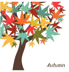 Background of stylized autumn tree for greeting vector