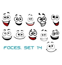 Cartoon faces with happiness and joyful vector