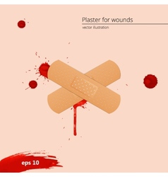 Blood drops and frame with medical plaster vector