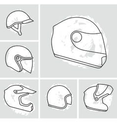 Motorcycle helmets set vector