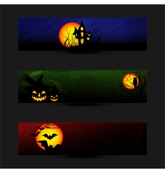 Set of colorful halloween banner vector
